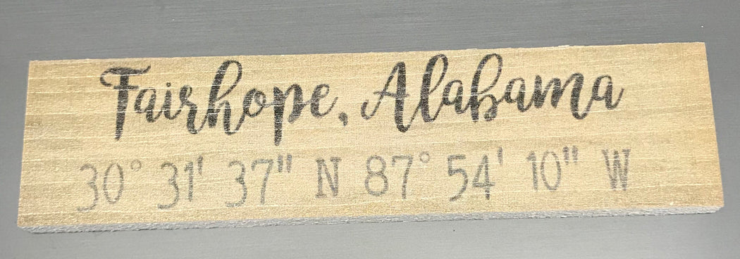 Fairhope Alabama Coordinates Sign