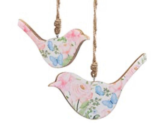 Wooden Bird Ornament Floral Pattern