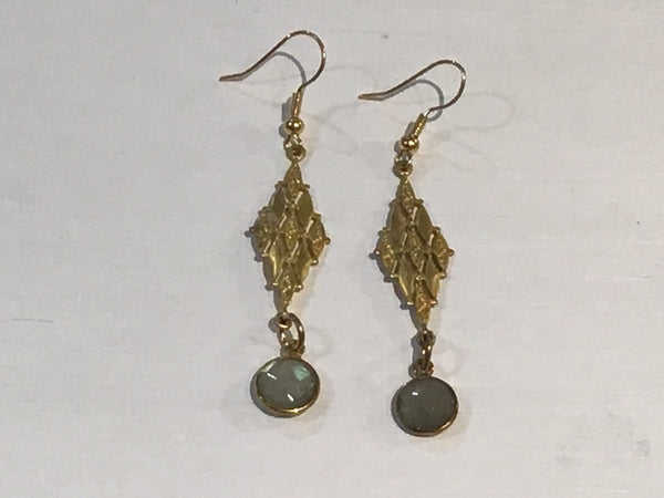 Sadie Gold Earrings With Nine Drop Diamond Shapes With Labradorite Single Stone