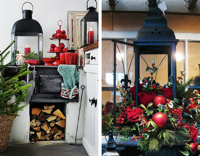 Lanterns, red candles, ornaments, accessories and a touch of greenery bring the outdoors inside - without the cold weather!