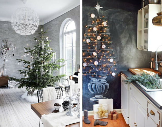 Traditional Christmas trees of green and red have been upstaged by sleeker, simplified versions, including one which was drawn on a chalkboard painted wall with a few lights for that dazzling finish!