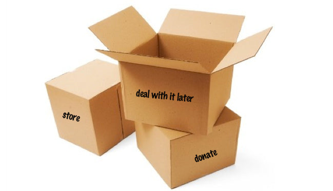 Label your boxes before you begin to help make your organizing go faster.