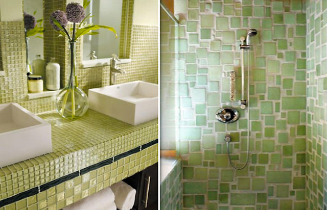 Images found on Pinterest. These tiles are not only a gorgeous green to look at, they also have recycled content making them a great choice for the eco-minded bathroom designer.
