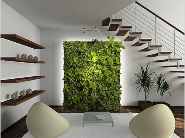 Living room with vertical garden - via Hubpages.com; article written by Jasmin Mayfair