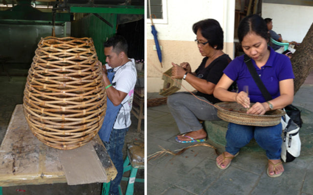 Photo copyright kouboo.com, LLC. Artisans work on wicker and rattan products for sale on kouboo.com