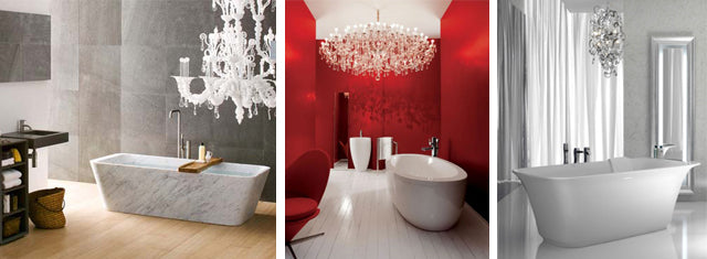 great ways to use a chandelier in your bathroom