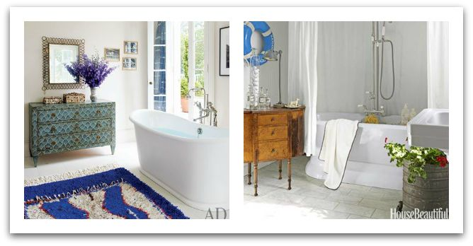 Dressers in the bathroom add unexpected surprises as well as extra storage.