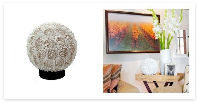 Floral Clamrose Sphere Table Lamp