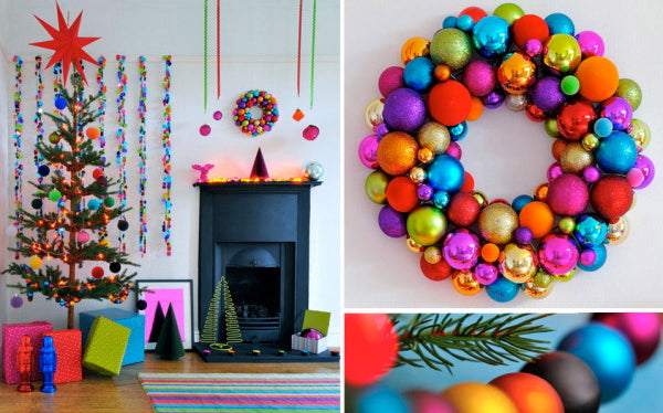 """There are other options to the traditional """"tree"""" such as these festive balls decorating a wreath or hung by the fireplace with care.  Courtesy of Will Taylor."""