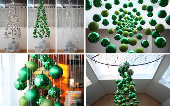 No room for a tree of any kind?  Look no further - make a tree mobile with green balls and plastic line found in the fishing tackle box!