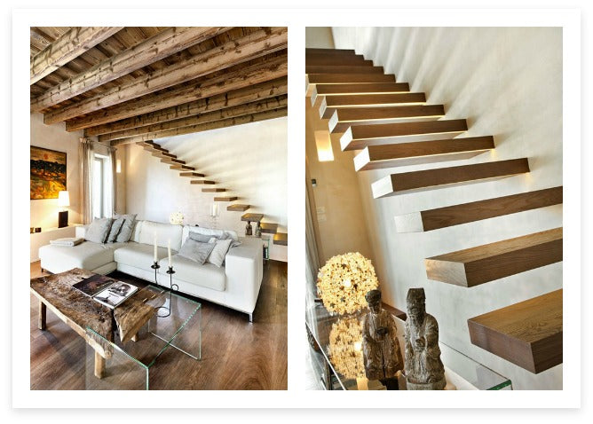"""Incorporating these cantilevered stairs into the room design is brilliant.  They are truly the best """"supporting"""" element a room could ask for!  Photos: Via Le case di Elixir"""