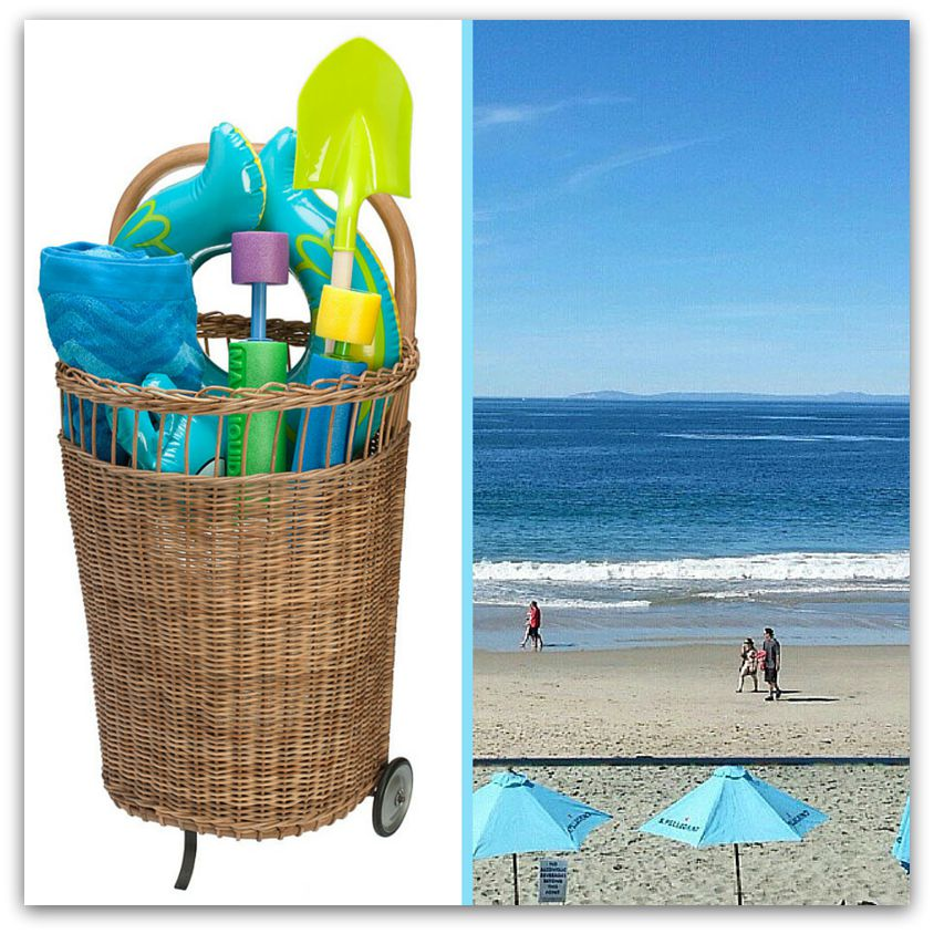 A Kouboo French market basket carries all the kiddos gear for the beach!