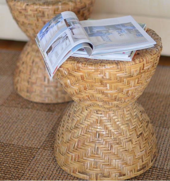 Photo © Kouboo.com LLC These hand woven hourglass rattan stools from Kouboo.com make a perfect landing place for a magazine or a cup of tea.