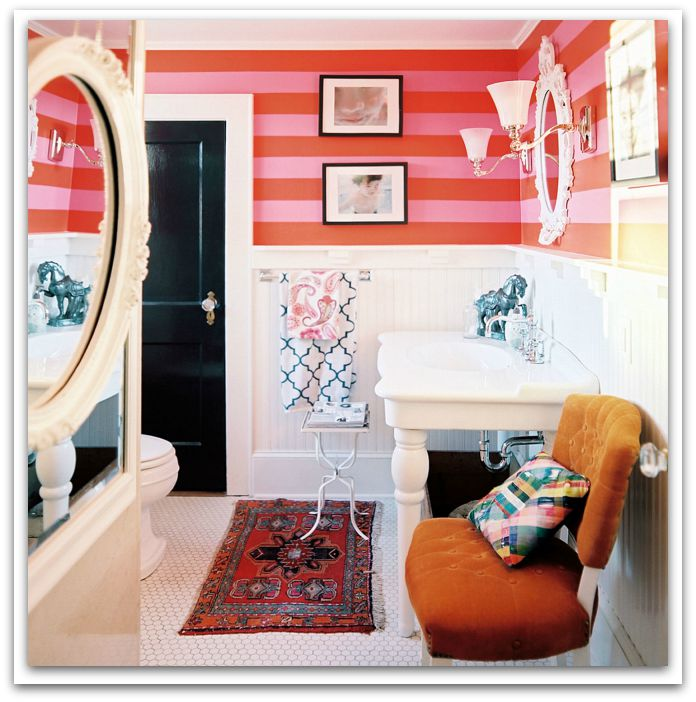 This bathroom is pretty in pink by RBK design.