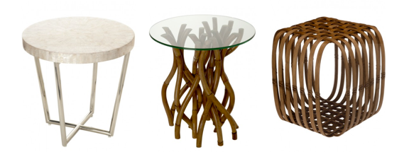Some accent furniture is designed and created by artists These three small side tables from Kouboo.com are a perfect example. The effect of adding one or two of these to your furniture plan is to elevate the entire room. Photos copyright Kouboo.com, LLC
