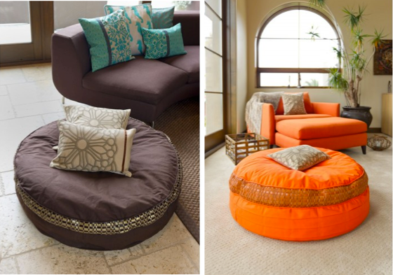 The bean bag, or floor cushion, is an overlooked piece of accent furniture. In an earlier post I wrote that they can add fun to any interior. They are also practical and comfortable – I have a very sophisticated client who chooses the floor cushion over her sofa every time. Photos copyright Kouboo.com, LLC