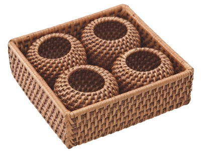 Laguna Rattan Napkin Ring, Set of 4