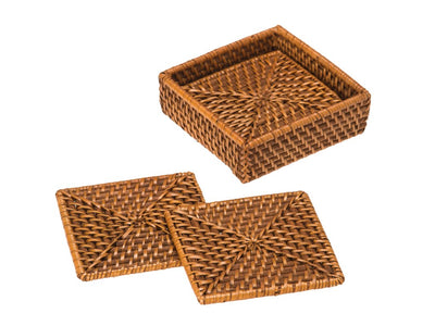 Laguna Square Rattan Coasters with Case, Set of 4, Honey-Brown