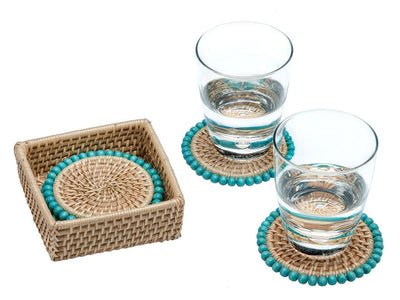 Round Rattan Coaster with Wood Beads, Set of 4