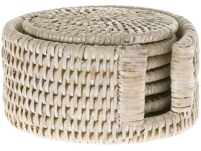 La Jolla Round Rattan Coasters with Holder, Set of 6