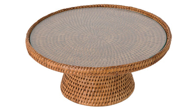 La Jolla Rattan Cake stand with Glass Top, Honey-Brown