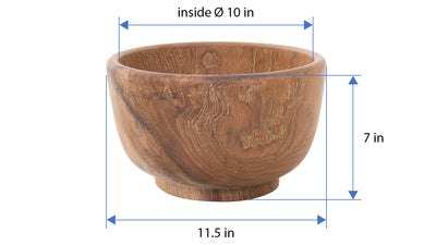 Balian Teak Wood Classic Salad and Fruit Bowl, Natural
