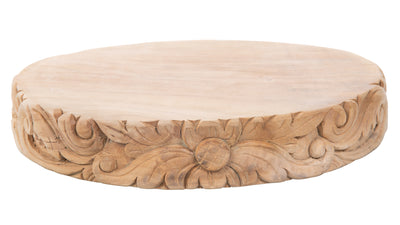 Balian Teak Wood Carved Round Tapas, Meat and Cheese Board or Charger, Natural