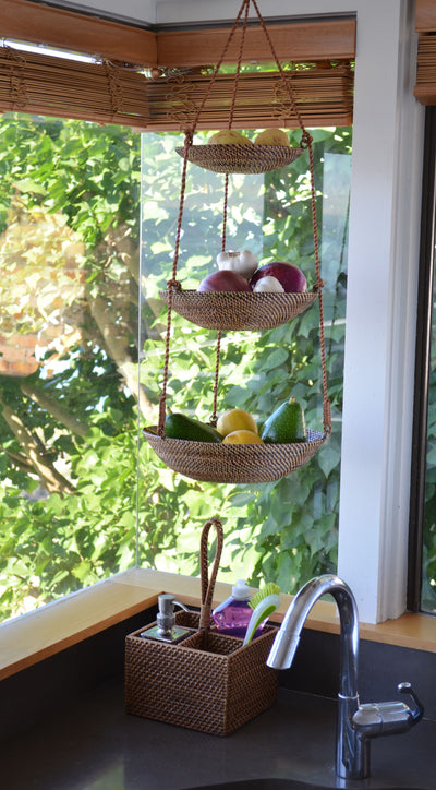 Carmel 3-Tier Hanging Basket in Rattan-Nito