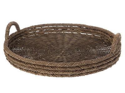 Oversized Round Serving Tray in Lampakanay & Wicker