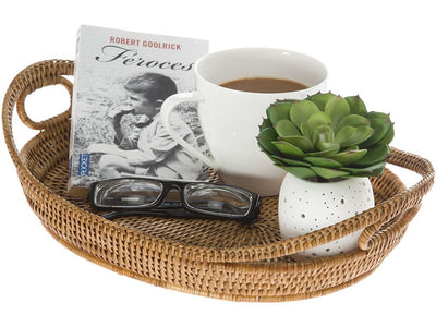 La Jolla Oval Rattan Tray with Looped Handles