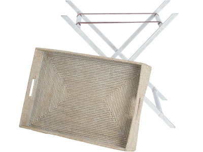 La Jolla Rattan Butler Tray with Folding Teak Wood Stand