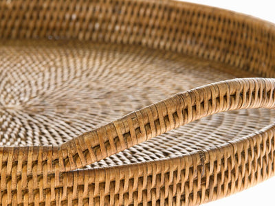 La Jolla Rattan Round Serving Tray