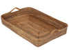 Carmel Large Handwoven Nito Rectangular Serving Tray, Honey-Brown