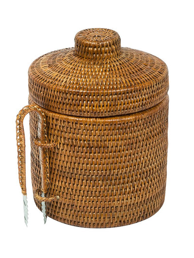 La Jolla Rattan Ice Bucket with Ice Tongs, Honey Brown