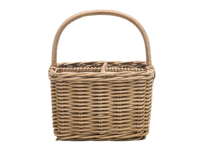 Rattan Core Bottle Basket with 4 Compartments, Natural