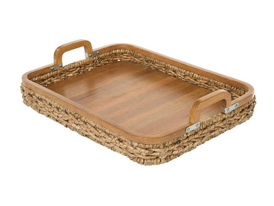 Rectangular Anson Serving Tray in Sea Grass with Solid Wood Bottom
