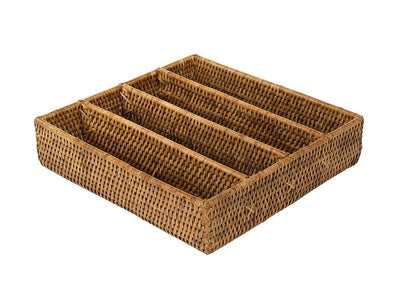 La Jolla Rattan Silverware Tray and Organizer, Honey Brown