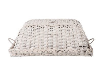 Rattan Serving and Breakfast Tray with Food Cover and Ear Handles in White Wash