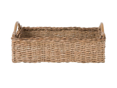 Sea Grass Serving or Breakfast Tray and Shelf Basket with Rattan Pole Handles, Natural