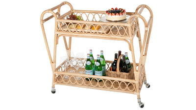 Rattan Loop 2-Tier Serving Bar Cart, Natural
