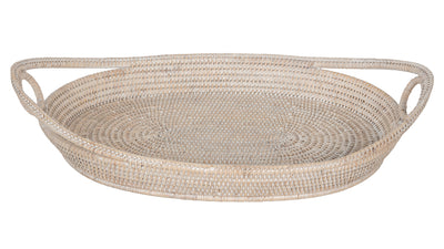 La Jolla Oval Rattan Tray with Looped Handles, Large