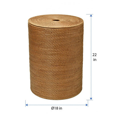 LAGUNA ROUND RATTAN HAMPER WITH LINER, HONEY-BROWN