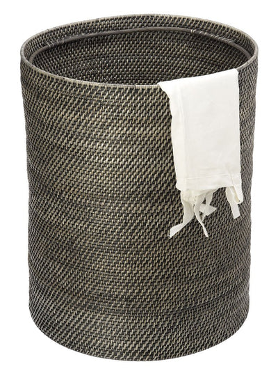 Rattan Hamper with Beads, Antique Black