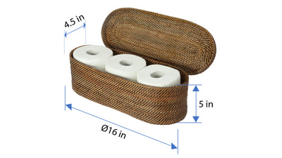 Carmel Handwoven Nito Toilet Paper Roll Cover, 3 Rolls, Honey Brown