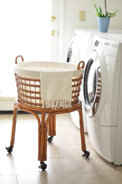 Rolling Wicker Laundry Basket and Hamper with Cotton Liner and Stand
