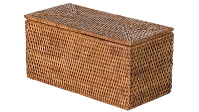 La Jolla Rectangular Rattan Storage and Toilet Roll Box, Honey-Brown