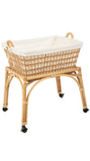 Rectangular Rolling Wicker Laundry Basket & Hamper with Cotton Liner and Stand
