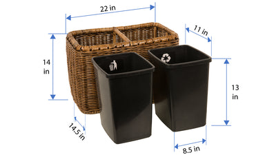 Rattan Double Waste Basket with Plastic Inserts, Antique Brown