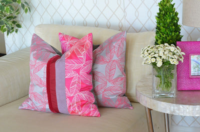 Pink Foliage Silk Pillow Cover