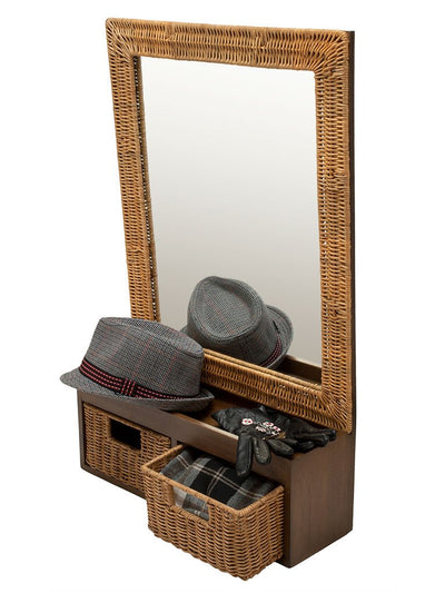 Wicker Foyer Mirror with Drawers